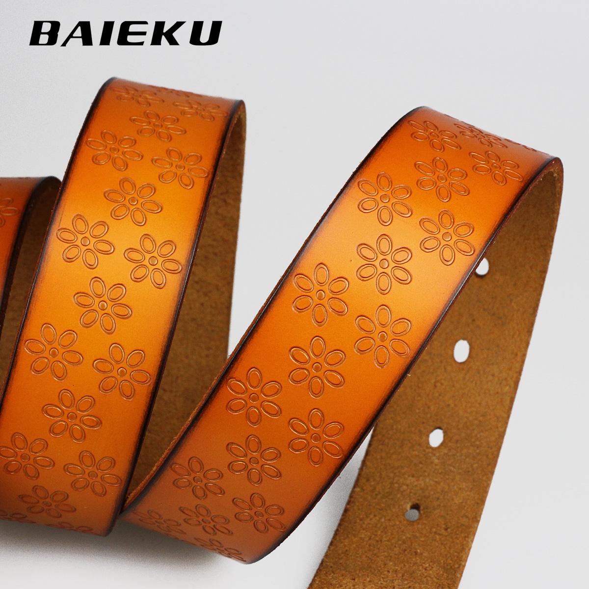 Ремень Baieku bek19 Женское Кожа быка Повседневный стиль Липучка Цветочный узор