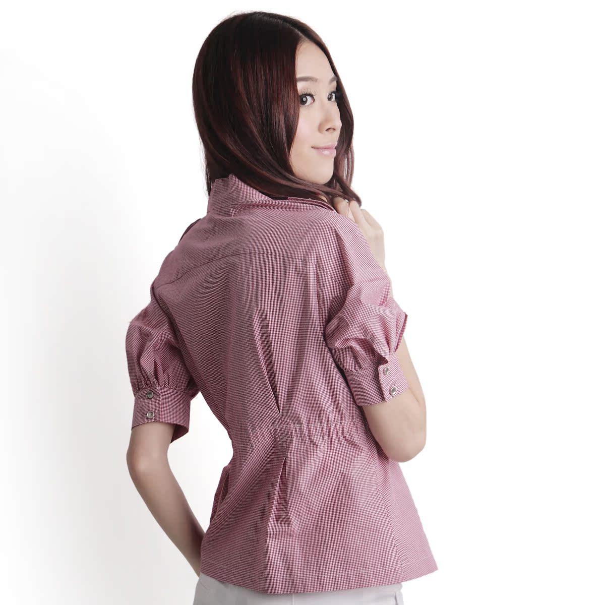 женская рубашка OSA sc00303 2011 C00303 Повседневный В клетку Бантик бабочкой V-образный вырез