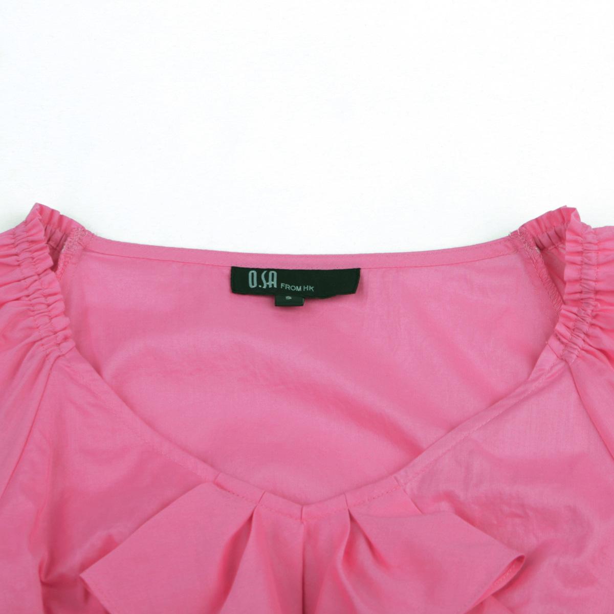 женская рубашка OSA sc00504 O.SA OL Casual Длинный рукав В клетку Оборка V-образный вырез