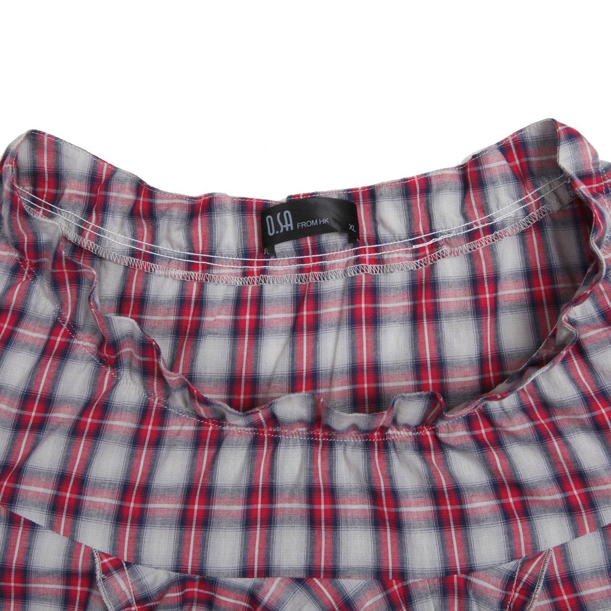 женская рубашка OSA sc10316 O.SA2011 Casual Короткий рукав В клетку Оборка Закругленный вырез