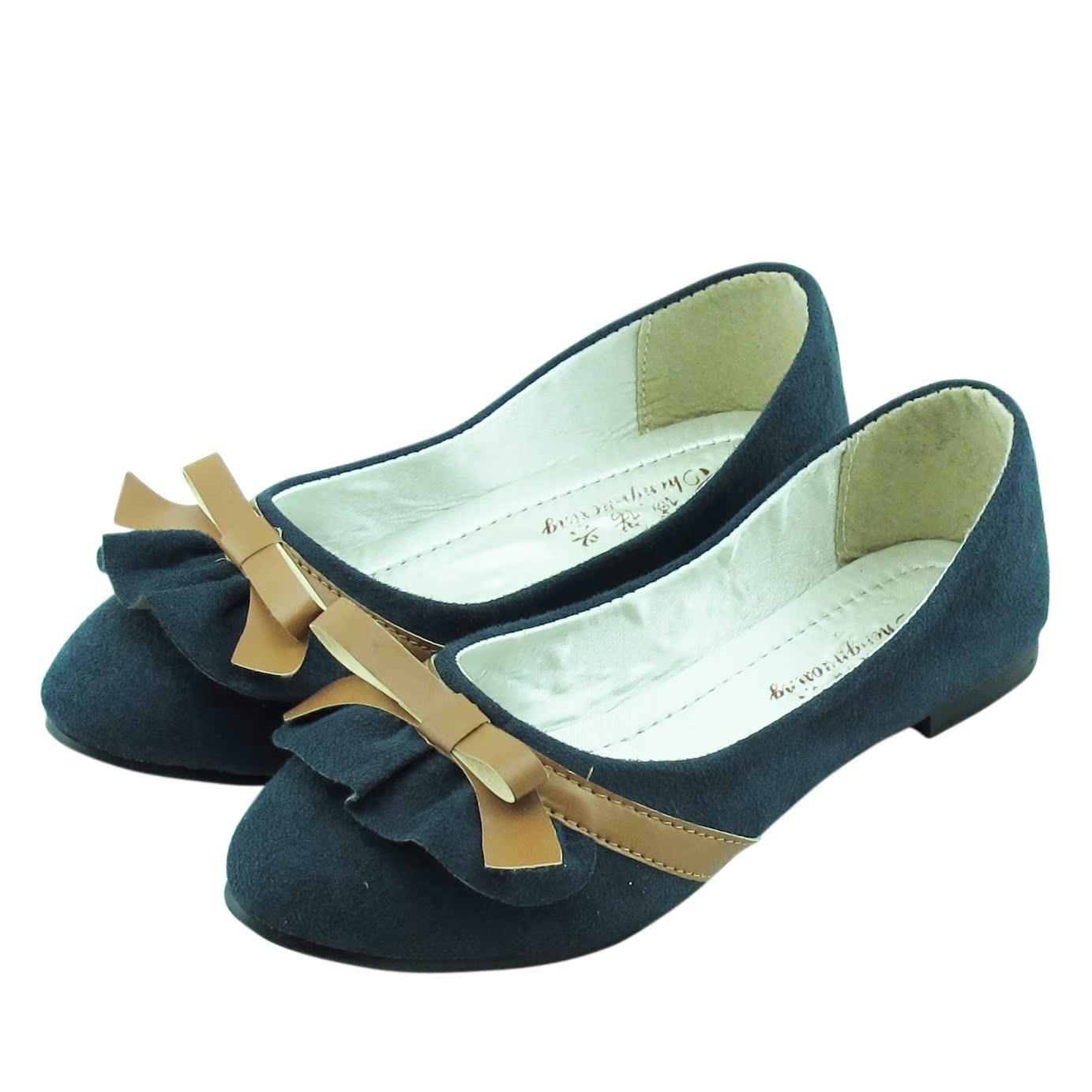 туфли Новый летний корейский сладкой леди складок, что принцесса Раффлед лук плоский Женская обувь обувь Обувь для женщин Замша