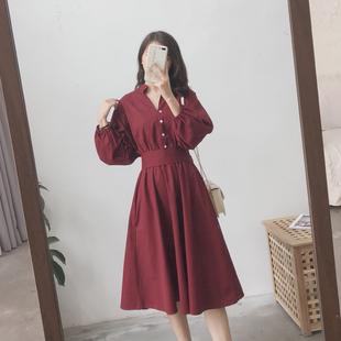 赫本风法式复古气质长裙桔梗初恋山本egg女春裙子红色衬衫连衣裙