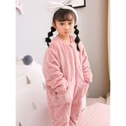 儿童连体睡衣加厚睡袋秋冬宝宝珊瑚绒哈衣女童男孩法兰绒婴儿装季