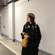 大sim黑色赫本风毛绒领拼接系带毛呢外套女呢子大衣韩国2018冬装