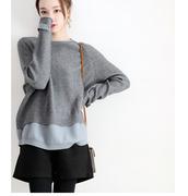 一穿上就显瘦 设计师风格假两件带扣设计中长款含羊绒羊毛毛衣套