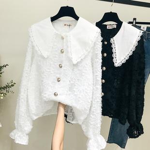 娃娃领白衬衫蕾丝打底衫很仙的上衣长袖宽松百搭洋气复古雪纺衬衣