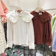 韩国ulzzang2018冬装花瓣长袖蕾丝娃娃领打底衬衫女上衣潮
