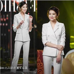 白色小西装外套女2019春季时尚气质显瘦西服职业套装