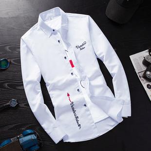 冬季白色长袖衬衫男士青少年保暖衬衣潮男装加绒加厚寸衫