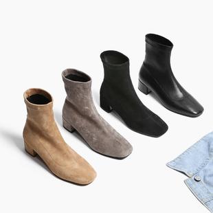岛上定制春秋袜靴弹力短靴加绒中跟短筒单靴圆头裸靴粗跟女靴子冬