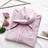 欧美小众早春新色明线装饰系带衬衫别致大飘带chic宽松女衬衣