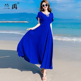夏季雪纺连衣裙女短袖长款度假波西米亚大摆海边沙滩裙
