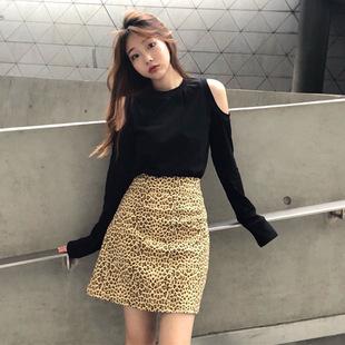 秋天上衣女潮2018露肩长袖纯色T恤衫百搭气质打底衫