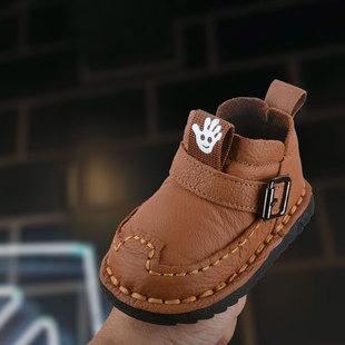 2018冬季宝宝棉鞋1一3岁真皮男女加绒儿童鞋子软底婴儿学步雪地靴
