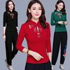 中国风女装秋冬刺绣立领上衣复古民族风盘扣长袖女T恤大码打底衫