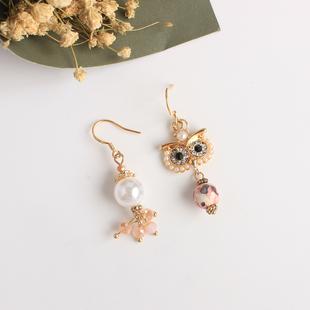 韩国可爱不对称天然石珠猫头鹰耳坠复古耳环无耳洞耳夹耳饰女