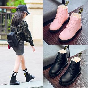 童鞋女童靴子2018秋冬季公主马丁靴小女孩短靴加绒棉鞋儿童雪地靴