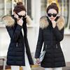 女装棉衣女中长款加厚保暖连帽大毛领羽绒棉服秋冬外套