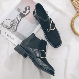欧美粗跟马丁靴女复古黑色平底女短靴方头方扣松紧带裸靴踝靴女靴