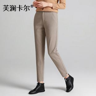 女裤2018秋冬哈伦裤女九分裤小脚毛呢运动裤加厚萝卜裤子
