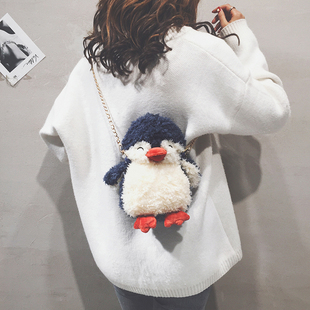 ins超火少女可爱企鹅毛毛包包女2018百搭毛绒链条单肩斜挎包