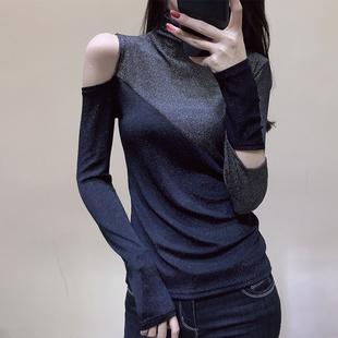 欧洲站2018秋装欧货黑色高领打底衫女加厚拼接露肩T恤女长袖