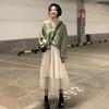 时尚套装春季宽松纯色长袖衬衫+网纱半身裙长裙两件套女