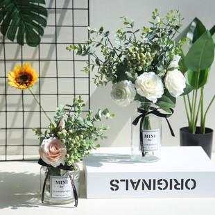 ins北欧风格小清新仿真花假花玫瑰花束客厅家居摆设装饰插花摆件