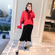 孕妇秋冬装套装时尚款2018短毛衣针织连衣裙中长款宽松两件套