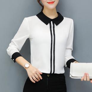 漫娜儿春季上衣女装2019时尚显瘦韩范雪纺衬衫长袖大码白衬衣