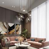 查看精选北欧玻璃吊灯设计师创意个性LED客厅餐厅网红分子肥皂泡泡灯具最新价格