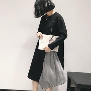 2018秋装宽松女装欧洲站设计感大开叉拼接条纹长袖长衫连衣裙