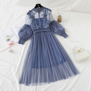 立体花朵蕾丝连衣裙秋冬女仙女网纱裙吊带打底裙子两件套装裙长裙