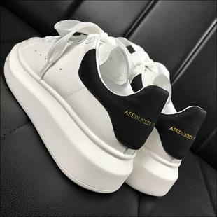 高版本真皮厚底红星麦昆小白鞋女内增高运动鞋百搭情侣板鞋