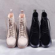 马丁靴女真皮英伦风平底短靴系带欧美百搭学生冬加绒复古高帮鞋子