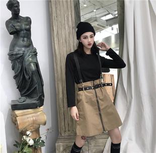 ulzzang原宿BF复古收腰背带裙A字裙拉链皮带扣半身裙短裙女潮