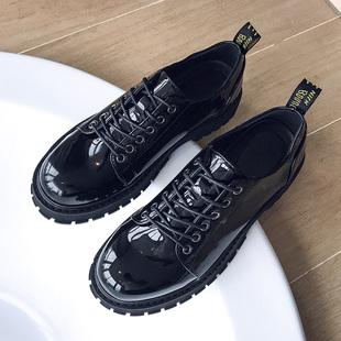 大头皮鞋男潮流英伦百搭发型师鞋子男潮鞋学生黑色小皮鞋