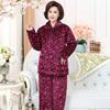 三层夹棉保暖中老年妈妈法兰绒睡衣女冬季加厚珊瑚绒大码长袖套装