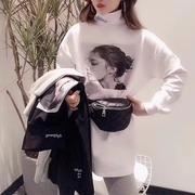欧洲站2018秋冬高领加绒打底衫白色欧货大版t恤女中长款上衣