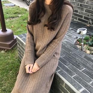 韩国冬季女装针织打底连衣裙宽松大码加厚保暖超长款过膝毛衣裙女
