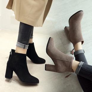 欧洲站2018秋冬高跟靴女真皮短靴女靴马丁靴棉靴小码