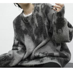 Ace慵懒风毛衣女宽松套头2018冬百搭复古马海毛针织网红上衣