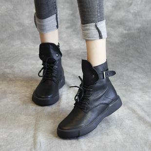 秋冬款女靴真皮软底马丁靴2018女鞋欧美时尚冬季女士短靴子潮
