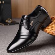 秋冬季小皮鞋男士潮尖头男鞋内增高大码鞋子商务正装黑色