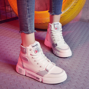 女鞋秋季女2018运动棉鞋子冬加绒高帮鞋百搭网红学生
