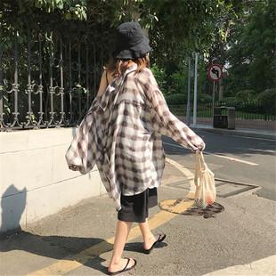 夏季韩国chic复古宽松雪纺格子中长款长袖防晒衣女薄款衬衫潮上衣