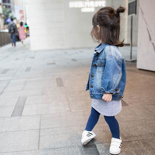 蓝小爸 女童牛仔外套2018春秋装短款儿童宝宝童装上衣潮