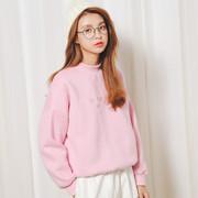 2018秋冬季学生粉色加绒卫衣外套半高领女装宽松加厚纯色简约绒衫