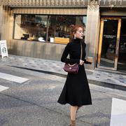 裙子女秋冬2018黑色高领打底针织裙长袖气质法式连衣裙秋