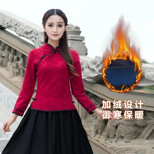 2018冬季 民族风女装斜襟立领提花加绒加厚棉麻长袖衬衫上衣